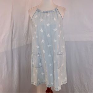 OLD NAVY Light Blue Light Denim Stars Dress - S